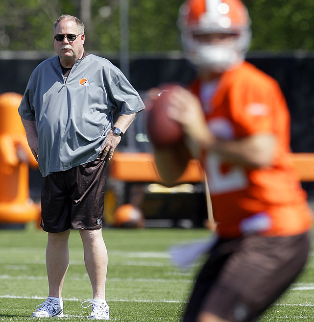 After righting the ship in Green Bay and Seattle, Mike Holmgren gave Browns fans a glimmer of hope this offseason when he agreed to become president of the recently troubled franchise.  The Browns, who have lost double-digit games six out of the last seven years, have needs at quarterback, defensive line and in the secondary.  Holmgren addressed quarterback this offseason by drafting Colt McCoy (right) and signing veteran Jake Delhomme, but Holmgren and the Browns have a long way to go before they hoist an AFC North title.