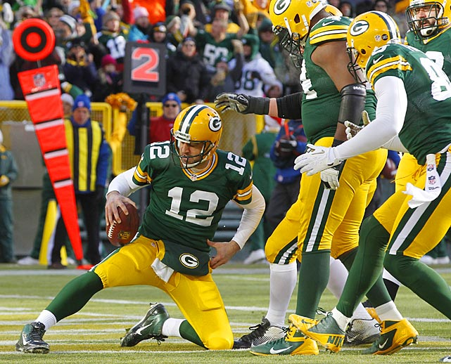 Aaron Rodgers' signature touchdown celebration is a case when imagination met reality. Since becoming the starting quarterback for the Green Bay Packers, Rodgers has celebrated touchdowns by miming putting on a championship belt. The belt celebration became so synonymous with Rodgers' touchdowns that he received his own actual belt, a replica of the World Wrestling Entertainment championship belt, which Clay Matthews put on him while celebrating the Packers' Super Bowl XLV victory.