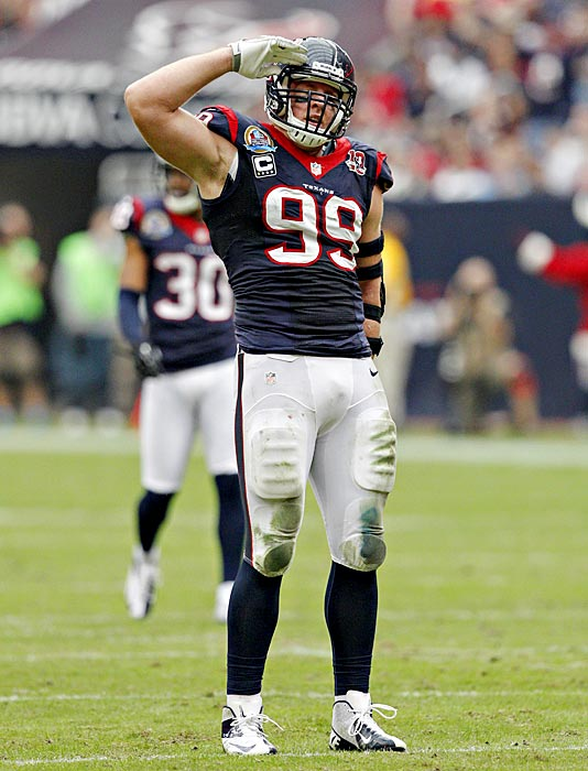 When J.J. Watt exploded onto the national scene with a dominant 2012 season, his salutes after sacks became famous thanks to the 20.5 sacks he racked up (not sure how he half-saluted). After Watt won the Defensive Player of the Year Award, Houston Texans fans returned the favor, posting photos saluting Watt for his incredible season.