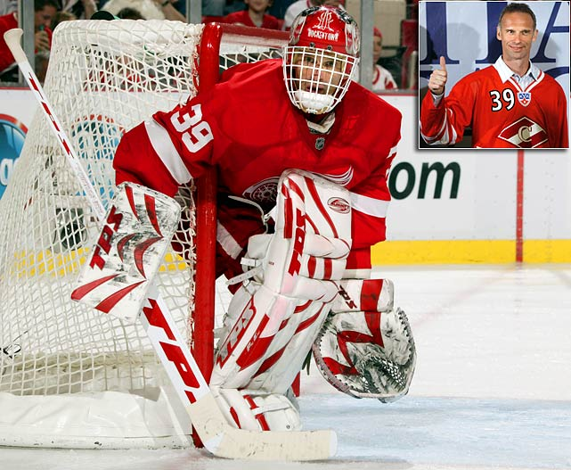 The Dominator's 16 NHL seasons ended on a bit of a downbeat note when he was supplanted in Detroit's net by Chris Osgood during the Red Wings' run to the Stanley Cup in 2008. The six-time Vezina and two-time Hart (MVP) Trophy-winner then returned to his native Czech Republic where he appeared in 33 games for HC Eaton Pardubice in 2009-10 at age 45.  In June 2010, Hasek signed a one-year deal with Spartak Moscow (inset) of Russia's KHL.