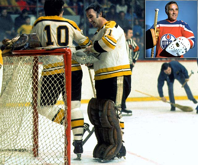 The Hall of Fame goaltender, renowned for popularizing the facemask and backstopping the Montreal Canadiens to six Stanley Cups, concluded his 18 NHL seasons with eight games as a Boston Bruin in 1972-73, going 7-1-0 with a 2.00 GAA. For good measure, Plante joined the WHA's Edmonton Oilers at age 46 and played in 31 games during the 1974-75 season, posting a 15-14-1 mark with a 3.32 GAA.