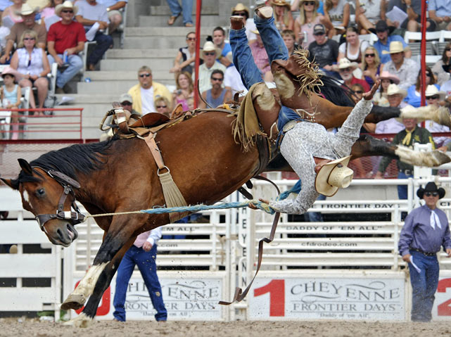 Another rider is thrown off his horse wildly in the saddle bronc competition.