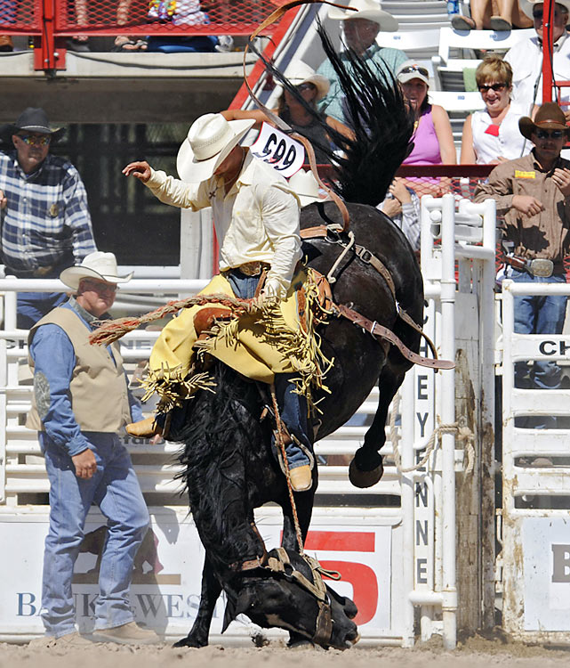 Hanging on for dear life, Jesse Kruse of Great Falls, Mont., scored an 86 for his performance in the rodeo.