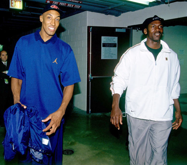 Pippen and Michael Jordan enter the arena prior to  Game 1 of the 1997 NBA Finals against Utah. The Bulls would go on to win 84-82 and take the series in six games.
