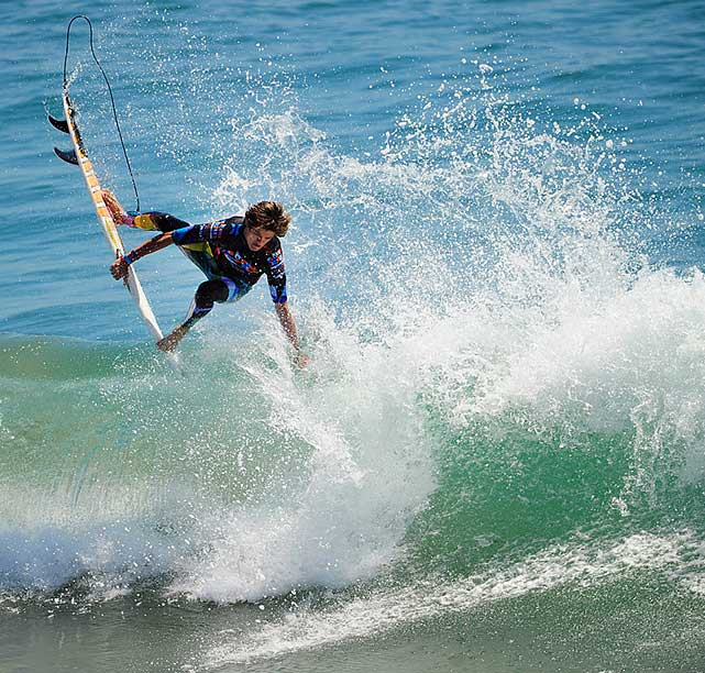 Jacob Halstead is shown trying to land an aerial in the Pro Junior semis.