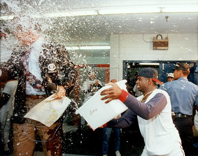 "After the Braves won the 1992 NL pennant with a Game 7 victory against the Pirates, Deion Sanders sneaked up on CBS sportscaster Tim McCarver to douse him with multiple buckets of ice water. Sanders was upset with McCarver for having said on the air earlier in the series that it was ""flat-out wrong"" for Sanders to fly to Miami in the middle of the night to play a football game with the Falcons and then fly back to Pittsburgh for a baseball game the same night. McCarver responded to Sanders' actions by saying, ""You're a real man, Deion."""