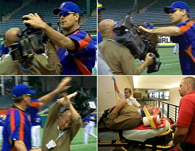 Rangers left-hander Kenny Rogers was suspended 20 games and fined $50,000 after shoving two cameramen and tossing a camera to the ground and kicking it in June 2005. One of the cameramen, Larry Rodriguez, was treated at a hospital, and Rogers faced misdemeanor assault charges and a lawsuit. An arbitrator reduced Rogers' suspension to 13 games, the pitcher attended anger-management counseling and he settled out of court with Rodriguez.