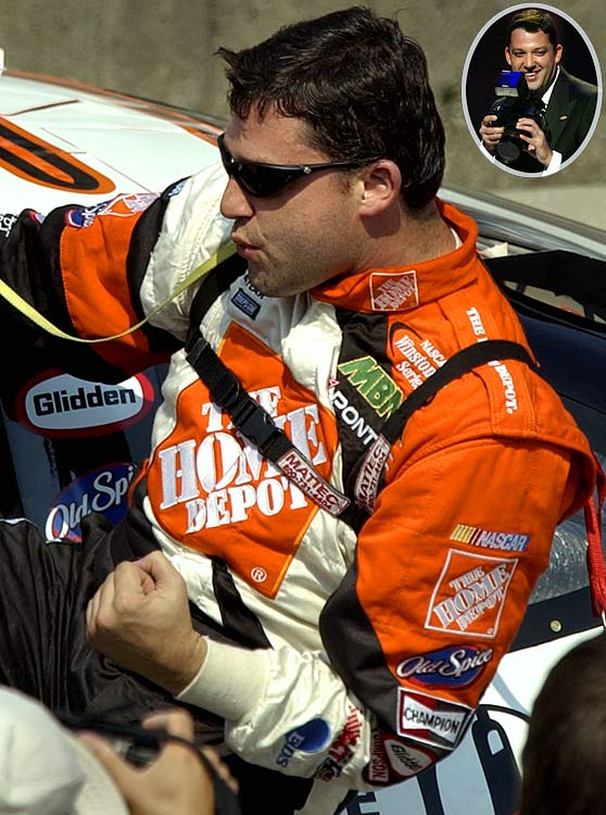 The tempestuous Tony Stewart was fined, by NASCAR and his sponsor, and put on season-long probation after punching photographer Gary Mook following the Brickyard 400 in Indianapolis in August 2002. Stewart had been fined and placed on probation the previous year for slapping away a reporter's tape recorder.