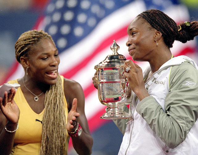 Venus Williams wins her second U.S. Open title, beating sister Serena 6-2, 6-4 in the first all-sister U.S. Open final in the first ever prime-time Grand Slam singles final.