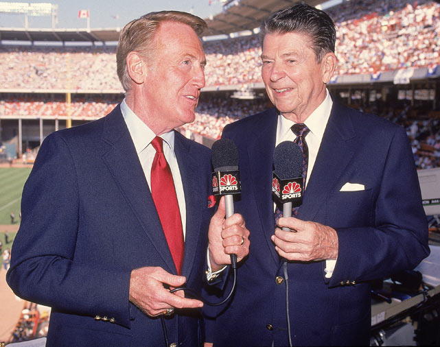 Scully is joined by President Ronald Reagan in the broadcast booth during the 1989 All-Star game.