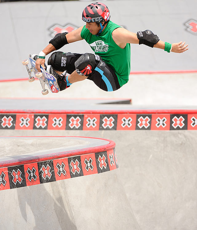 Christian Hosoi performs in the Skateboard Park Legends final.