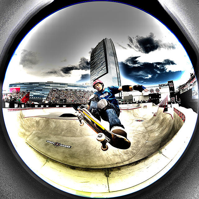 Through the looking glass, Mike McGill skates in the 2010 Games.