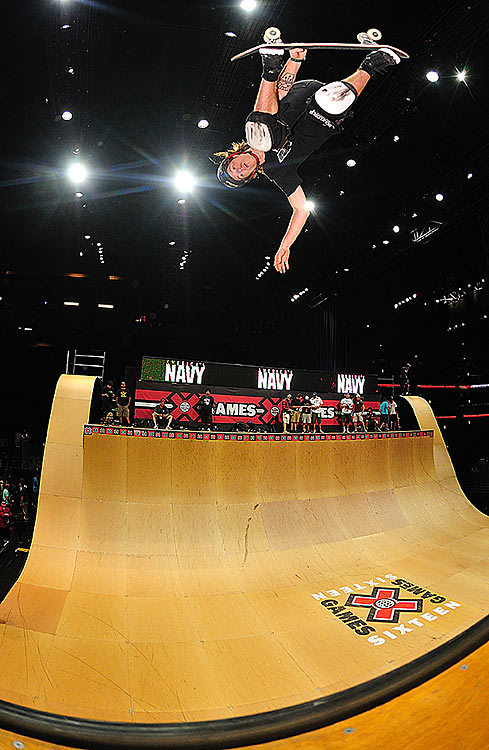 Shaun White gets up in the skateboard vert. He finished second in the competition.