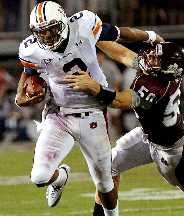 Last Week:  11 of 19 passing for 136 yards, 2 TDs, 1 INT; 18 rushes for 70 yards in 17-14 win over Mississippi State  Season:  20 of 33 passing for 322 yards, 5 TDs, 1 INT; 33 rushes for 241 yards, 2 TDs  Eight quarters into his Auburn career, Newton has seven total touchdowns. He delivered a win in his first SEC game as a Tiger and while the offense sputtered in the second half in Starksville, Newton still accounted for over 200 yards of offense. With 241 rushing yards he's 31 behind Tennessee's Tauren Poole for the SEC lead, though the thought of having his QB as his leading rusher is slightly concerning to coach Gene Chizik.   Next Up:  Saturday vs. Clemson