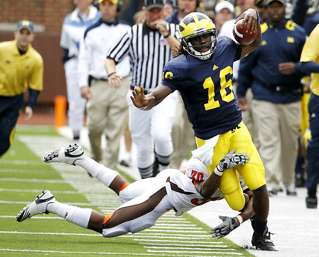 If there was one thing Michigan fans didn't want to see, it was an injury to Denard Robinson. The star quarterback twisted his left knee after a 47-yard run in the first quarter and did not return, but the Wolverines rallied. Backups Devin Gardner and Tate Forcier both saw time, but it was the much maligned Forcier who helped Big Blue secure a big win and move to 4-0 on the year.