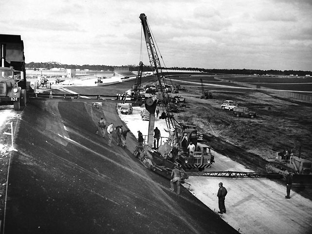 Here's a look at the equipment used when the track was originally built, beginning in 1957. The cost of the speedway, which was completed in 1959, was $3 million.