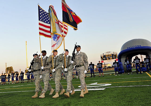 Fort Campbell High is a public high school run by the Department of Defense and open only to children of soldiers who live on post at Fort Campbell. Their football team, the Fort Campbell High Falcons, serve as a support system for the 75-100 boys whose parents serve in harms way.