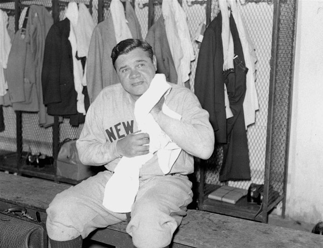 The Sultan of Swat sits in the locker room after his last game with the Yankees in 1934.