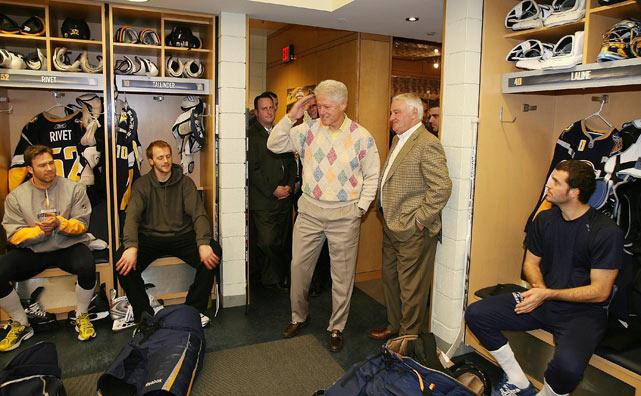 Former president Bill Clinton gives the Buffalo Sabres a pep talk.