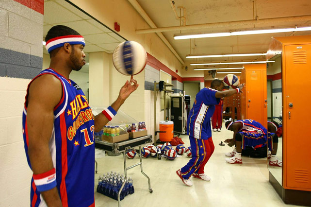 What else would you expect the Harlem Globetrotters to be doing in the locker room?