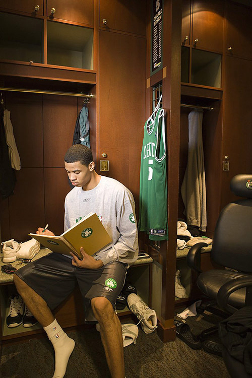 Gerald Green, the 18th pick in the 2005 draft, writes in his diary at the Celtics' training facility during his rookie year.