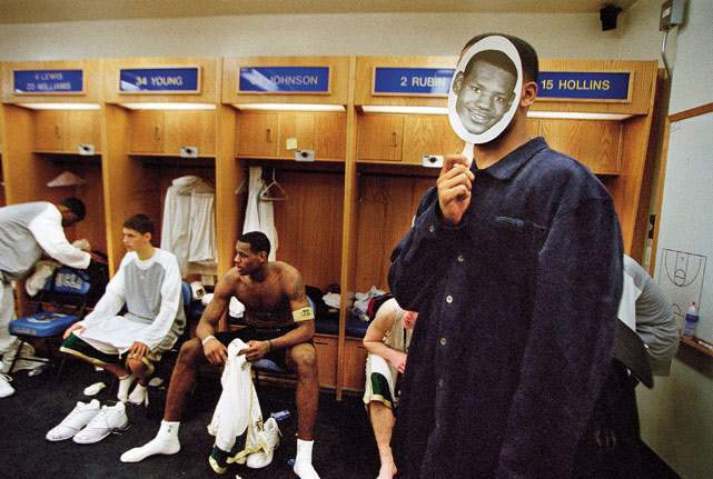 LeBron James, of St. Vincent-St. Mary, sits in the locker room as his friend Maverick Carter (now his business partner) pokes fun at the future King.