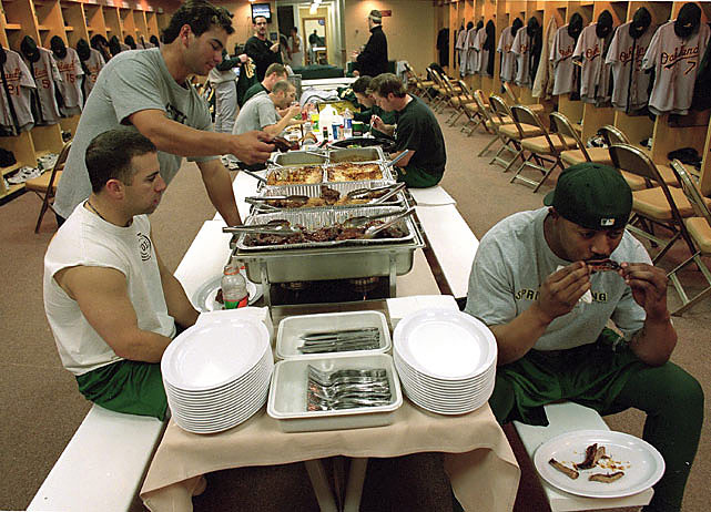 The Oakland A's share a team meal.