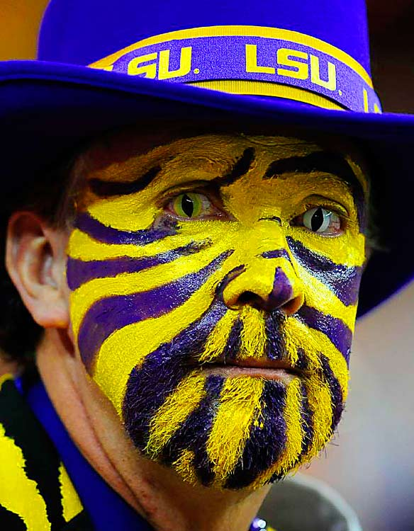 LSU Tiger fans came out in full regalia for their team's 30-24 victory over North Carolina at the Georgia Dome in Atlanta.