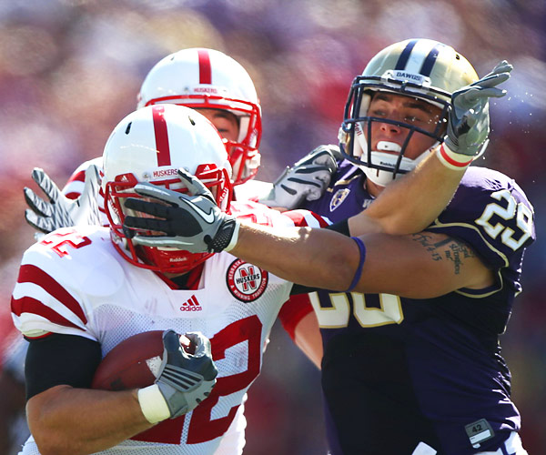 In the eighth meeting between the Huskies and the Cornhuskers, Nebraska running back Rex Burkhead battled Nate Fellner en route to a 56-21 road win in Seattle.