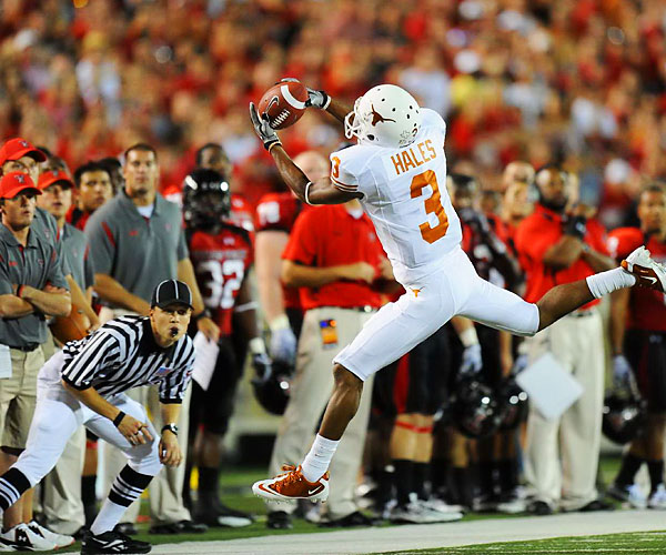 Wide receiver DeSean Hales of Texas makes a catch against Texas Tech.