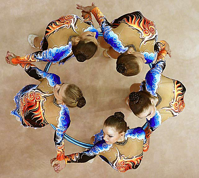The team from Belarus during the group apparatus final at the 30th Rhythmic Gymnastics World Championships Sept. 26 in Moscow. Belarus finished seventh in the hoops competition and second in the group all-around.