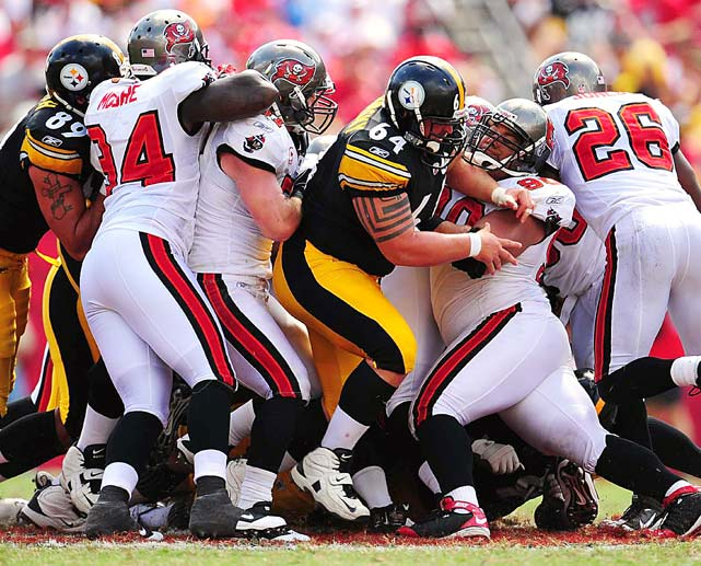 Center Doug Legursky of the Pittsburgh Steelers blocks defensive tackle Roy Miller of the Tampa Bay Buccaneers during their Sept. 26 game at Raymond James Stadium in Tampa, Fla. Pittsburgh won 38-13.