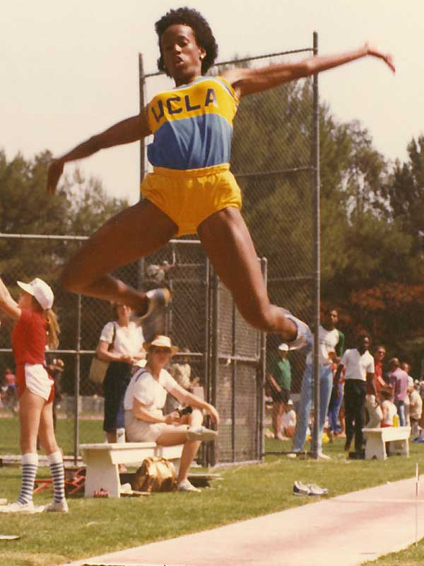 A UCLA track and basketball star, Jackie Joyner-Kersee won three gold, one silver and two bronze medals over a span of four Olympic Games.  A heptathlon and long jump legend, she also won gold during the World Championships in Rome in 1987, Tokyo in 1991 and Stuttgart in 1993.