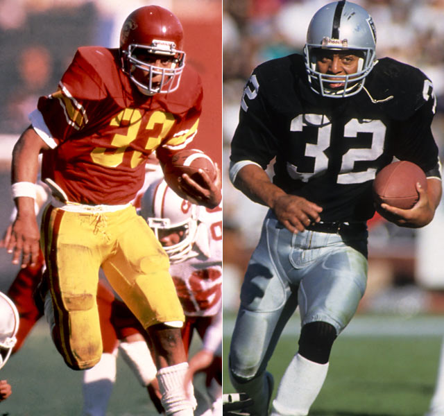 Originally recruited as a defensive back, Marcus Allen set all kinds of rushing records in the Los Angeles area.  He set a USC single-season mark with 2,342 yards in 1981 and is the Oakland (then Los Angeles) Raiders all-time leading rusher with 8,545 yards. Allen also helped the franchise win its only title during its brief stint in L.A.