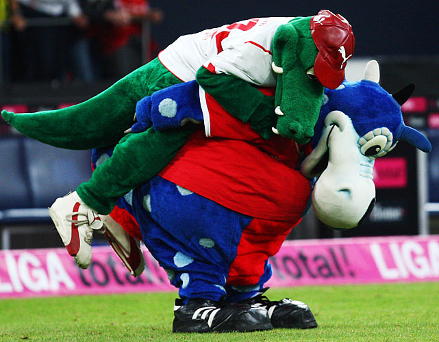 Not to be outdone by their American counterparts, the German soccer association boasted some altercations of its own.  Here, Stuttgart mascot Fritzle attacks Hamburg mascot Hermann.