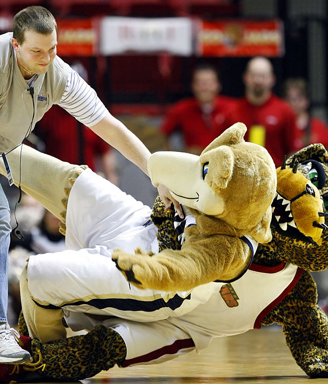 While fighting between mascots might be humorous, it's not tolerated.  Both the Oral Roberts mascot, Eli the Eagle, and the IUPUI mascot, Jinx the Jaguar, were ejected from the venue following this altercation.