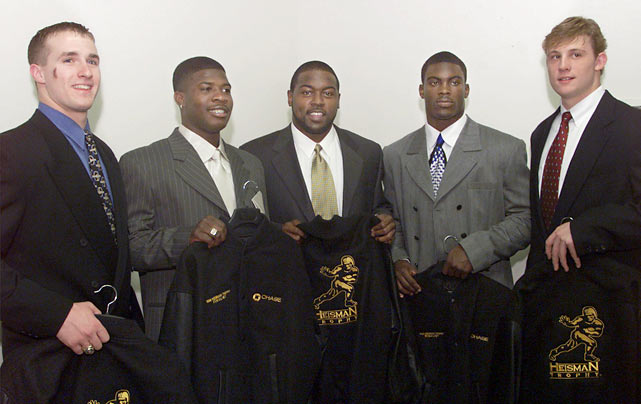 Vick put up great numbers as a freshman, passing for 1,840 yards and 12 touchdowns while rushing for 585 yards and eight scores. His performance made him a Heisman Trophy finalist, finishing third behind Ron Dayne and Josh Hamilton. He joined Herschel Walker (Georgia, 1980) and Clint Castleberry (Georgia Tech, 1942) as the only freshmen to place that high in the voting.