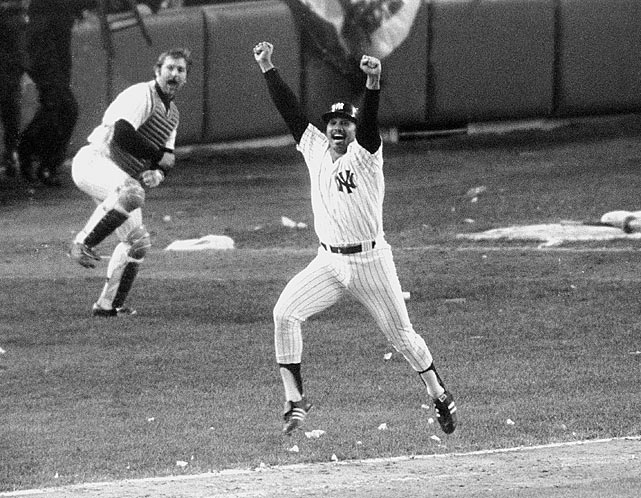 New York Yankees first baseman Chris Chambliss trotted to bat in the bottom of the ninth of the decisive Game 5 of the ALCS with the score tied at six apiece. Chambliss, who hit .524 on the series, drove the first pitch from Kansas City reliever Mark Littell just over the right-center field wall to propel the Yankees to their first pennant in 12 years.  A frenzied New York crowd flooded the field in jubilation as Chambliss ducked and weaved his away around the bases.