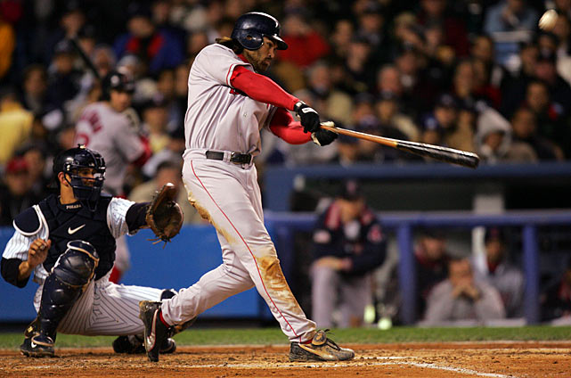 The Yankees won the first three games of the 2004 ALCS and took a one-run lead into the ninth inning of Game 4 with the dominant Mariano Rivera on the mound. But a Dave Roberts stolen base and Bill Mueller single helped tie the game and the Red Sox went on to win on a 12th-inning home run by David Ortiz. Big Papi delivered another walk-off hit the next night to send the series back to New York. Once there, the Red Sox won Game 6 behind a hobbling Curt Schilling and Game 7 thanks to a pair of home runs from Johnny Damon. The Red Sox became the first team in baseball history to win a series after trailing three-games-to-none.