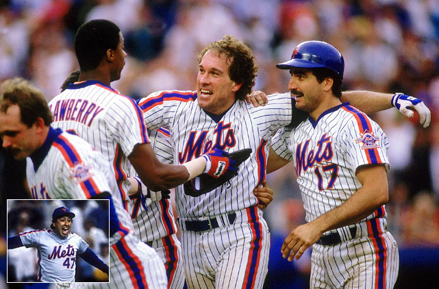 In a series packed with drama, the Mets won Game 3 on a walk-off home run by Lenny Dysktra and Game 5 on a 12th-inning single by Gary Carter. In Game 6, the Mets trailed 3-0 entering the top of the ninth, but rallied for three runs to force extra innings. Both teams scored in the 14th and the Mets scored three in the 16th. But the Astros chipped away with two of their own to make the score 7-6 before Jesse Orosco looped a slider past Houston's Kevin Bass, Orosco's 54th pitch in relief.  The strikeout ended the game and won the pennant for an exhausted Mets club.