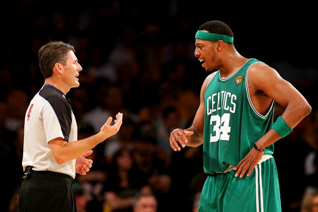 Like many of his Celtics' teammates, Pierce has a reputation for questioning the refs' calls.