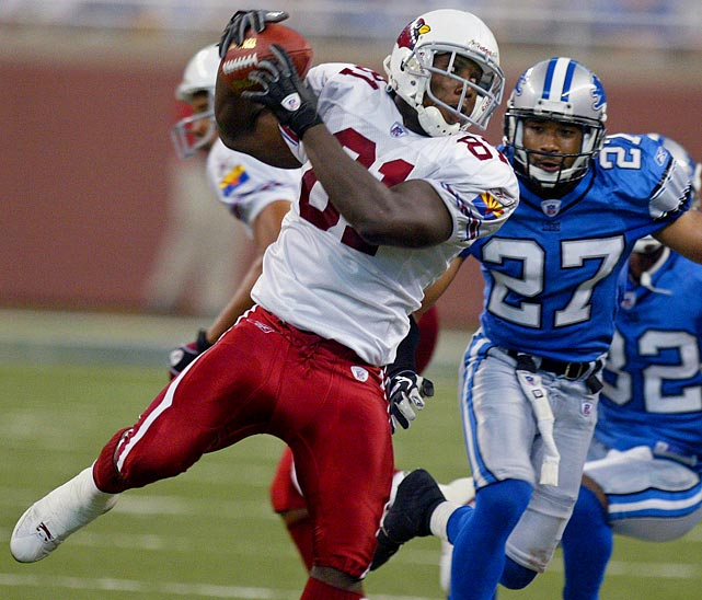 Five wide receivers were taken before Anquan Boldin in the 2003 NFL draft.  He showed those five teams and the rest of the NFL what they passed over in his debut game against the Detroit Lions. Boldin exploded for 217 receiving yards, a record for a player in his NFL debut and the second-highest total in Week 1 history. He also pulled in two touchdowns.