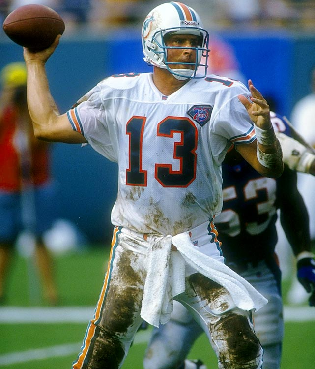 "The 1994 season was a great one for Dan Marino. Many had questioned whether he had anything left in the tank after an injury-plagued 1993 season, but Marino responded with two iconic games.  The first was ""The Clock Play,"" where he faked a spike in the closing seconds to beat the Jets.  The second came in Week 1 against the New England Patriots. Despite conditions more suited for a defensive struggle, Marino put up career numbers, throwing for 473 yards and five touchdowns. Marino went on to win NFL Comeback Player of the Year."