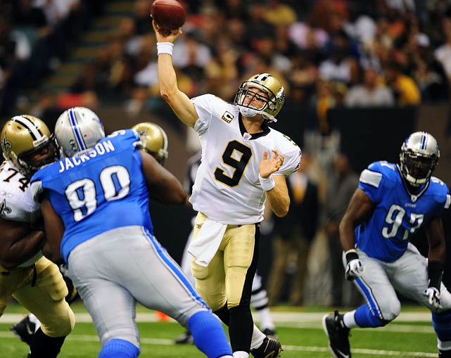 Before the Super Bowl Ring and the Super Bowl MVP, Drew Brees was an afterthought in the best quarterback debate.  But in the Saints' 2009 Week 1 match against the Detroit Lions, Brees began his campaign toward elite status.  Leading the Saints over the Lions, Brees recorded the first six-touchdown-pass season opener in NFL history.  Operating out of multiple receiver sets, he completed at least one pass to eight receivers, to the tune of 358 yards. With performances like that, it was hard for Brees to stay under the radar.