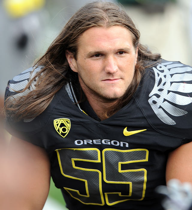 Staying true to his family's linebacking lineage, Casey Matthews has been a ferocious defender during his four years as an Oregon Duck.  He has a sack and two interceptions to start his senior season, and has recently grown out his hair to mirror his father, Clay Sr., and brother, Clay Jr.