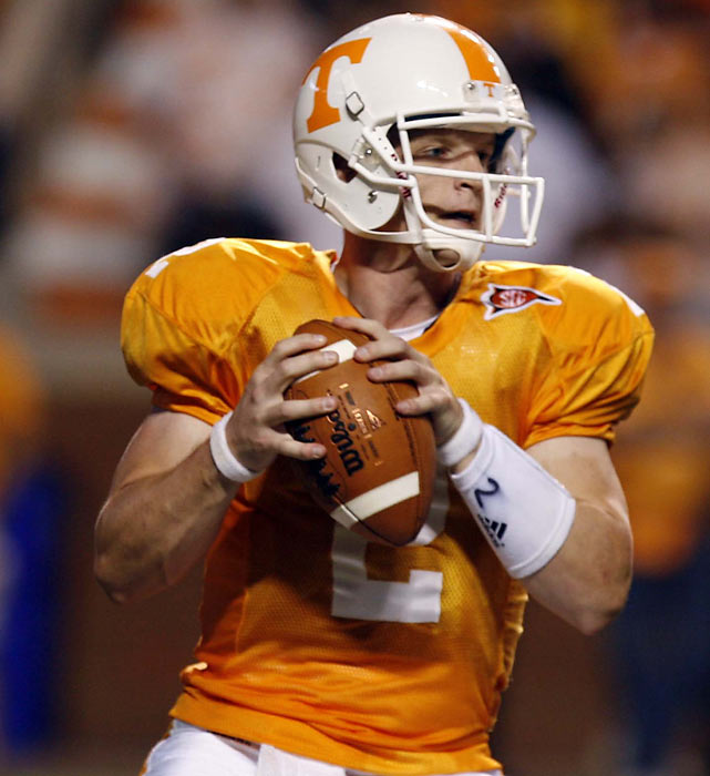 Quarterback Matt Simms has thrown for 836 passing yards and six touchdowns in 2010 while leading the Tennessee Volunteers to an early 2-2 start.  Matt, the son of two-time Super Bowl Champion Phil, also played at Louisville and El Camino Community College before transferring to Tennessee.