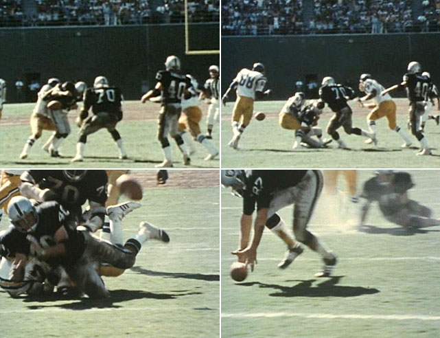 With 10 seconds left in a 1978 matchup between the Oakland Raiders and San Diego Chargers, the Raiders trailed 20-14. Ken Stabler took the snap and fumbled the ball forward toward the San Diego goal line.  A slew of other Raiders players also batted and kicked the ball forward until tight end Dave Casper fell on the ball in the end zone. All in all, the ball had advanced 24 yards without the aid of a forward pass or run, and the Raiders emerged victorious, 21-20. At the time, officials were not able to overturn the call, but the play lead to an overhaul of the league's rules regarding fumbles.