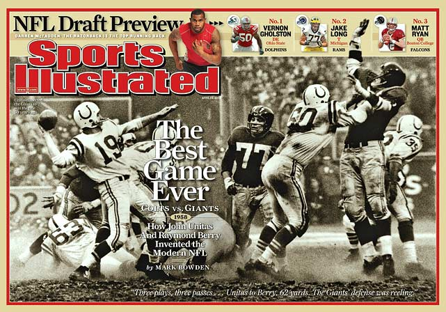 The 1958 NFL Championship game, the first NFL playoff game to go into sudden-death overtime, is considered the Greatest Game Ever Played.  Widely broadcast on NBC, it launched the game to new levels of popularity.  Overall, 17 Hall of Fame players took the field that day.  (Send comments to siwriters@simail.com)