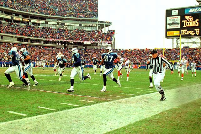 There are few plays more exciting in football than a kick return for a touchdown.  When said kick return includes a handoff and a lateral with only 16 seconds left in the game, there isn't a more exciting play. Down 16-15 to the Buffalo Bills in the AFC wild card game in 2000, the Titans' Frank Wycheck planted and threw a lateral across the field to Kevin Dyson, who ran 75 yards for the score and the win. Officials reviewed the play, but even they could not deny what would be dubbed the Music City Miracle.