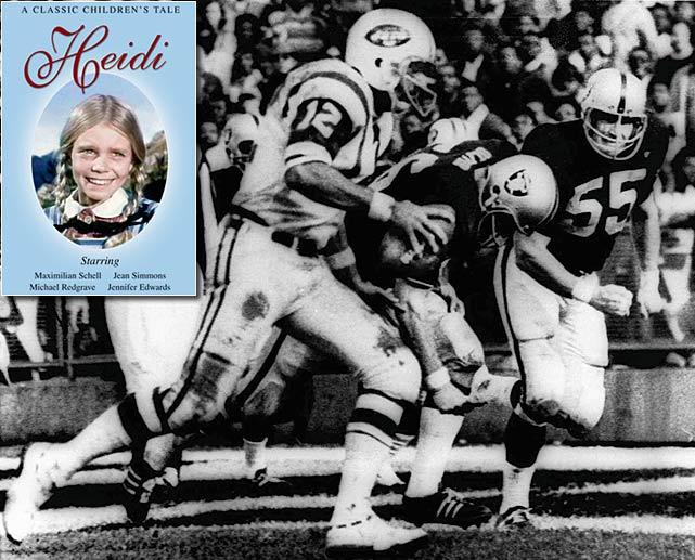 If a football game ends in a stadium and no one can watch it, did it really end at all?  Many fans asked this same question when, in 1968, NBC terminated the broadcast of a Jets-Raiders game early to air  Heidi , a made-for-TV movie.  Fans and NBC executives alike erupted in outrage, and it led the NFL to amend its television policies, requiring games in home markets to be broadcast in their entirety.